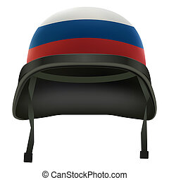 Military helmet with russian flag. Isolated on white background. Bitmap copy.