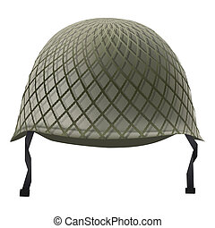 Military classic helmet with grid. Isolated on white...