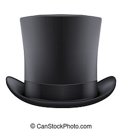 black gentleman hat cylinder Isolated on white background...