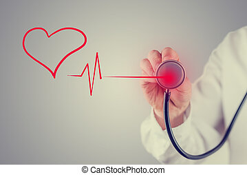 Healthy heart and cardiology concept - Retro faded effect...