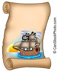 Parchment with pirate ship - color illustration.