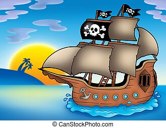 Pirate ship on sea - color illustration.