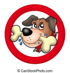 Red circle with angry dog - color illustration.