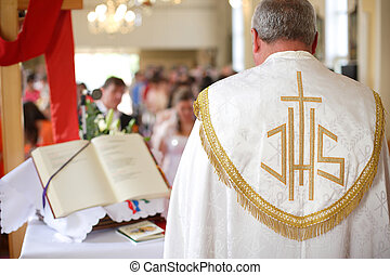 Priest in the church