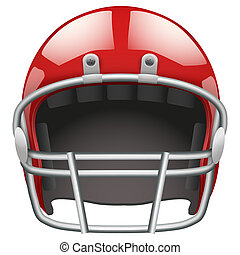 Realistic American football helmet. Isolated on white...