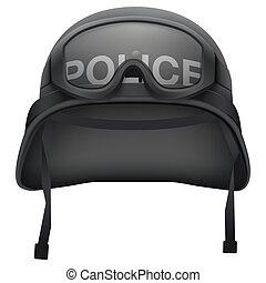 Police black helmet with goggles. Isolated on white...