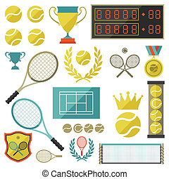 Tennis icon set in flat design style