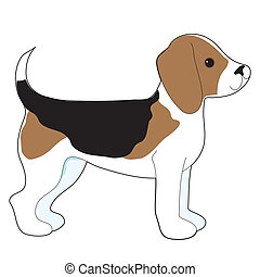 Beagle - A cartoon drawing of a cute little Beagle puppy