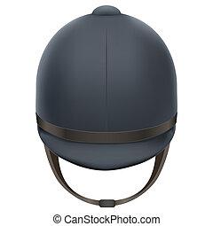 Jockey helmet for horseriding athlete. Isolated on white...