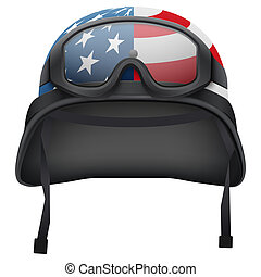 Military American helmet and goggles. Isolated on white...
