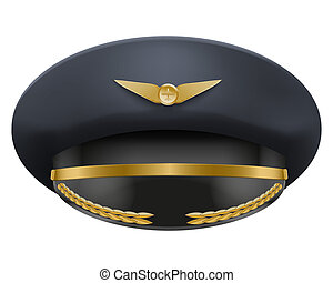 Aviator Peaked cap of the pilot. Isolated on white...