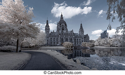 Hannover Rathaus - The New Town City Hall infra red image