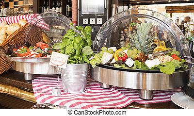 self-service salad bar - buffed food closeup of fruits,...