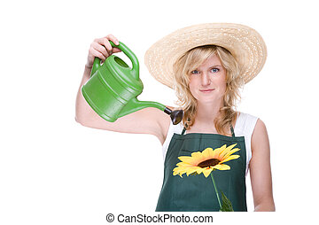 Gardener with watering can - Full isolated portrait of a...