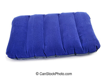 inflatable pillow - closeup of a blue inflatable pillow on a...