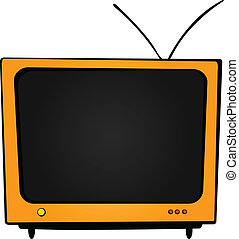 Orange TV - There is a big orange TV with an antenna and...