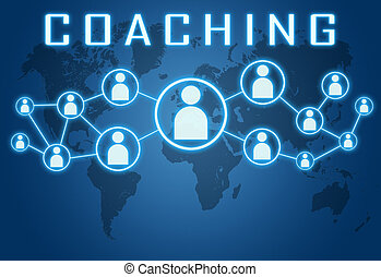Coaching concept on blue background with world map and...