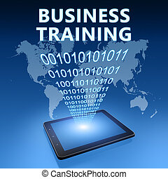 Business Training illustration with tablet computer on blue...