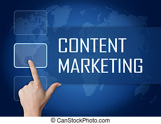 Content Marketing concept with interface and world map on...