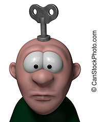 wind up - cartoon character with key to wind up on his head...
