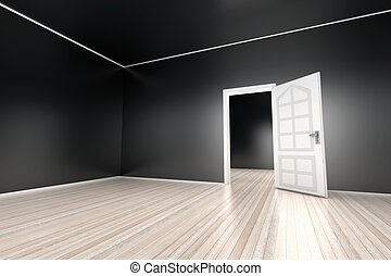 Empty Apartment - A empty apartment with a open door. 3D...