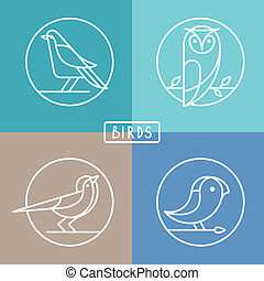 Vector bird icons in outline style - sparrow, owl and pigeon...
