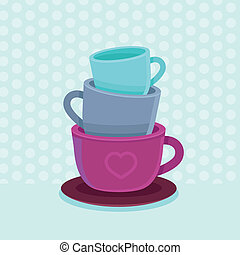 Vector stack of coffee mugs and cups - tea and coffee poster...