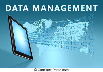 Data Management illustration with tablet computer on blue...