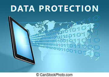 Data Protection illustration with tablet computer on blue...