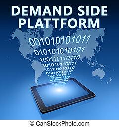 Demand Side Platform illustration with tablet computer on...