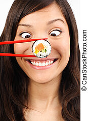 funny sushi woman - Funny picture of woman with salmon maki...