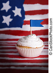 Cupcake with Blue Flag