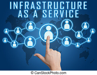 Infrastructure as a Service concept with hand pressing...