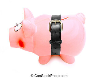 Tightening the belt - Piggy bank with tight belt isolated on...