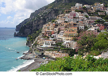 Positano at the Amalfi coast - View of Positano, colourfull...