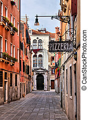 Traditional Venice - Quaint street in historic Venice, Italy...