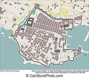 Dubrovnik Walls Croatia aerial view