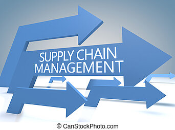 Supply Chain Management 3d render concept with blue arrows...