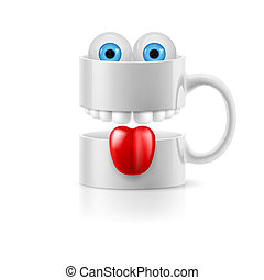 White mug of two parts with teeth, tongue and froggy eyes -...