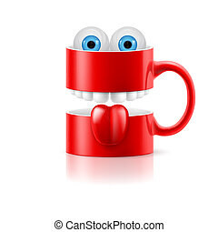 Red mug of two parts with teeth, tongue and froggy eyes -...