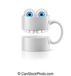 White mug of two parts with teeth and froggy eyes - White...
