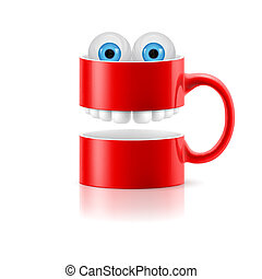 Red mug of two parts with teeth and froggy eyes - Red mug of...