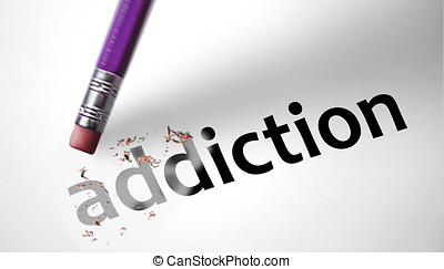 Eraser deleting the word Addiction
