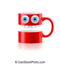 Red mug of two parts with two eyes and teeth