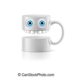 White mug of two parts with two eyes and teeth - White mug...