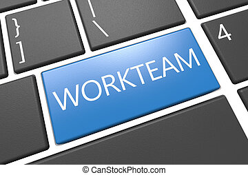 Workteam - keyboard 3d render illustration with word on blue...