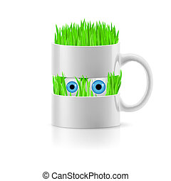 White mug of two parts with grass inside