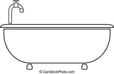 Bathtub icon on white background.