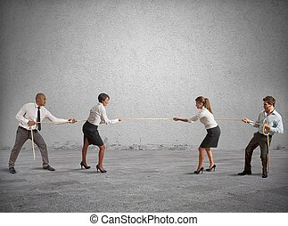 Team and business competition that play a tug of war