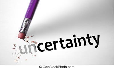 borrador, Cambiar, palabra, incertidumbre, certeza